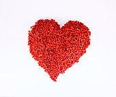 Red colored plastic granules