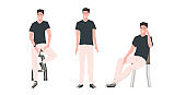 set young man in different poses male cartoon character collection full length horizontal
