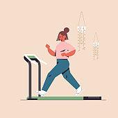 sportswoman running on treadmill girl having workout cardio fitness training healthy lifestyle sport concept