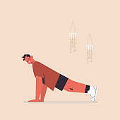 sportsman doing push ups exercises man having workout cardio fitness training healthy lifestyle sport concept
