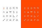 vector japanese line art icons set