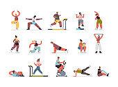 set people doing exercises mix race men women having workout cardio fitness training healthy lifestyle
