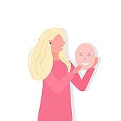 depressed woman holding positive mask girl covering face emotions behind mask fake feeling depression