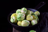 Brussels sprouts in the cast iron pan
