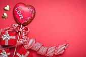 Valentine's day card. Background with copy space. Selective focus. Horizontal.