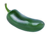 Hot green chili pepper isolated on white background with clipping path