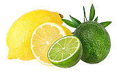 Lemons and lime isolated on white background with clipping path
