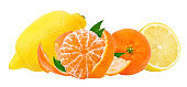 Citrus set mandarin orange and tangerine, isolated on white background with clipping path