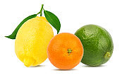 Citrus set mandarin orange, lemon, lime isolated on white background with clipping path