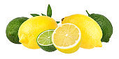 Collage citrus isolated on white background with clipping path