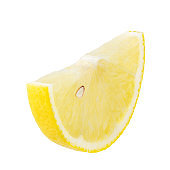 Lemon slice isolated on white background with clipping path