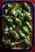 Pimientos del Padron tapas salted are Spain chili peppers