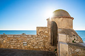 Peniscola Peñiscola beach view and guardhouse in Castellon Spain