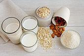 Various vegan plant based milk with ingredients, top view