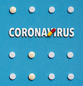 Outbreak of coronavirus infection 2019-nCoV in China idea. Vaccine development drugs, Colored Pill On Blue Background
