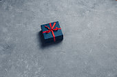 Creative Layout Christmas Gift Boxes., Flat lay Pattern On Grey