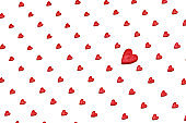Pattern of red hearts on a white background. Valentines Day Love Decor Background Concept