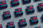 Creative Layout Christmas Gift Boxes., Flat lay Pattern On Grey Background. New Year Holidays Minimalism Concept