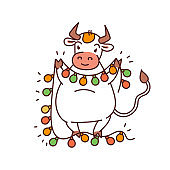 White metal bull with garland lantern - chinese new year symbol or logo for kids stickers