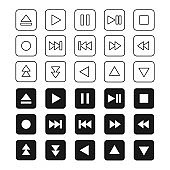 Music Media Player Icon Set Vector Template Illustration Design