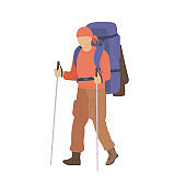 Man walking with hiking backpack and trekking sticks. Young guy explorer or traveller in sportswear. Adventure tourism, travel and discovery flat vector illustration.