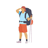 Man with hiking backpack and trekking sticks looking into the distance. Young guy explorer or traveller in sportswear. Adventure tourism, travel and discovery flat vector illustration.