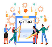 Signing contract up and business agreement with tiny people vector illustration.
