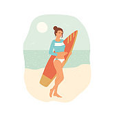 Girl in swimsuit with surfboard stands on beach against the background of ocean. Young female athlete leads a healthy active lifestyle. Vector flat cartoon illustration.