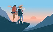 Travelers man and woman with backpack standing of mountain and looking sunrise over the sea. Concept of hiking, adventure tourism travel and discovery. Explorer flat vector illustration.