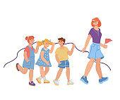 Kindergarten or primary school children walking. Elementary kids education.
