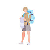 Man with hiking backpack explores the map. Young guy traveller in sportswear. Adventure tourism, travel and discovery flat vector illustration.