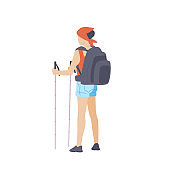 Girl with hiking backpack and trekking sticks stands with his back. Young woman explorer or traveller in sportswear. Adventure tourism, travel and discovery flat vector illustration.
