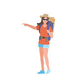 Girl with hiking backpack wearing sunglasses and a hat he points with his hand. Young woman explorer or traveller in sportswear. Adventure tourism, travel and discovery flat vector illustration.