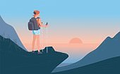 Woman with backpack standing his back of top mountain and looking on sea, sunrise. Concept of hiking, adventure tourism, travel and discovery. Explorer or traveller flat vector illustration.