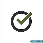 Circle Check Mark, Check List Icon Vector Template