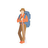 Woman with hiking backpack, hat and trekking sticks. Young explorer or traveller in sportswear. Adventure tourism, travel and discovery flat vector illustration.