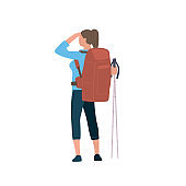 Woman with hiking backpack and trekking sticks stands with his back and looking distance. Young explorer or traveller in sportswear. Adventure tourism, travel and discovery flat vector illustration.