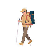 Woman going with hiking backpack wearing sunglasses and trekking sticks. Young explorer or traveller in sportswear. Adventure tourism, travel and discovery flat vector illustration.