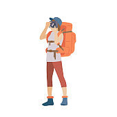 Girl with hiking backpack and photo camera. Young woman explorer or traveller in sportswear. Adventure tourism, travel and discovery flat vector illustration.