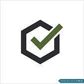 Hexagon Check Mark, Check List Icon Vector Template