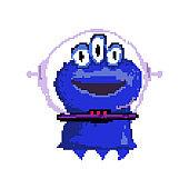 Smiling pixel alien with three eyes