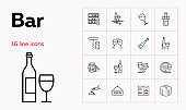 Bar line icon set. Waiter, menu, wine