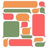 Chat speech bubbles flat icon set