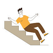 Young man falling downstairs