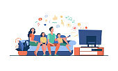 Cartoon happy family watching television together