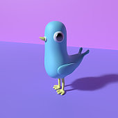 Abstract poster style with blue bird character with shadow on pink and purple background. 3D rendering objects shape. Minimal