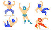 Mexican fighters in masks flat item set
