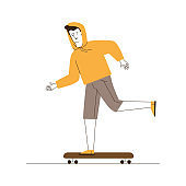 Guy in casual skateboarding