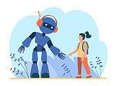 Girl talking to robot