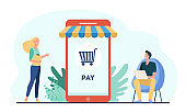 Joyful tiny customers paying in online store